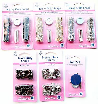 Heavy Duty Snap Fasteners Snaps / Poppers / Press Studs 15mm x 12 Sets