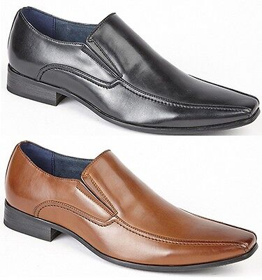 Mens Smart Wedding Shoes Faux Leather Formal Slip On Office Work Dress Boys