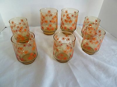 Vintage (7) Amber With Orange/Red Flowers Libbey Water,Juice, Ice Tea or Whiskey