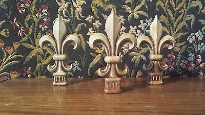 Hand Finished Iron Fleur de Lis Finials. Set of 3