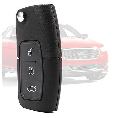 NEW 3 BUTTON UNCUT FLIP REMOTE KEY FOB for FORD FOCUS/MONDEO/CMAX/FIESTA
