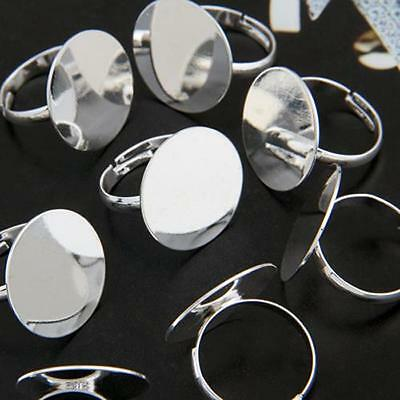 """10 Silver Plated Round Adjustable Ring Blanks Base DIY 0.8"""""""