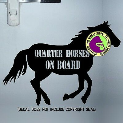 QUARTER HORSES ON BOARD CAUTION Trailer Door Sign Vinyl Decal Sticker BL