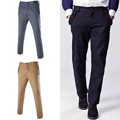 2016 Mens Casual Workwear Straight Fit Pants Business Dress Suit Long Trousers