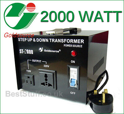 Goldsource 2000 Watt Step Up & Step Down Voltage Converter Transformer UK>US>UK