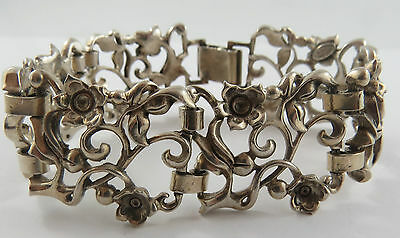 "Br-10 Sterling Silver  7 "" Bracelet With Floral Scroll Design"