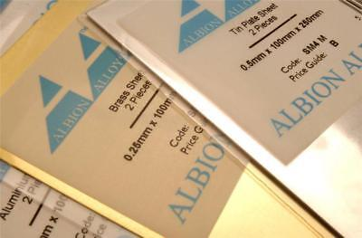 Albion Alloys Tin Plate Sheet 0.5mm - 100 mm x 250 mm - 2 Pack (Ref: SM4M)