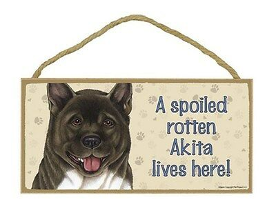 "Spoiled Rotten Akita Lives Here Sign Plaque 10"" x 5"" Dog Pet Gift"