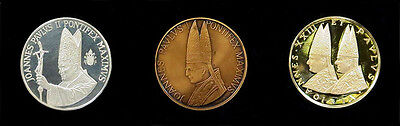 1981 Gold Silver Bronze 3 Coin Italy Vatican 4 Popes Holy Year