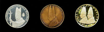 1981 Vatican Gold Silver & Bronze Proof 3 Coin  4 Popes Holy Year
