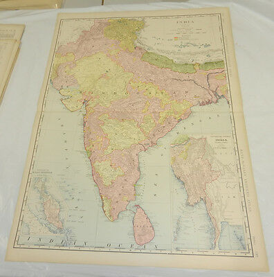 "1908 Rand McNally MAP of INDIA & CEYLON/Huge 20.5x28"" Format/with Index/SCARCE"