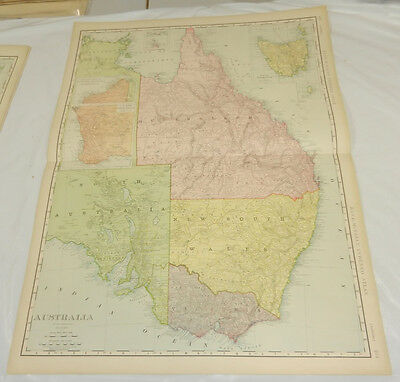 "5 1908 Rand McNally MAPS of AUSTRALIA/Huge 20.5x28"" Format/Includes Index/SCARCE"
