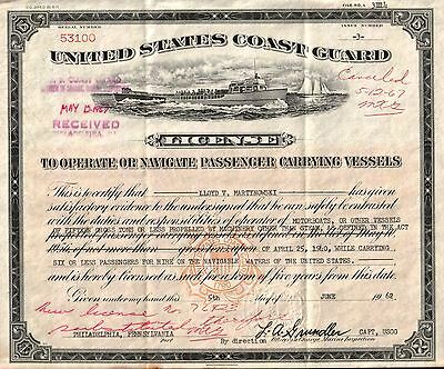 RARE PICTORIAL 1957-62 US COAST GUARD PASSENGER MOTORBOAT LICENSES $3000 on EBAY