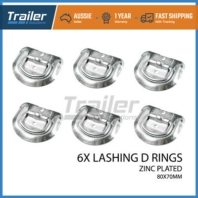 6X Lashing D Ring Zinc Plated Tie Down Points Anchor Ute Trailer 80 X 70Mm