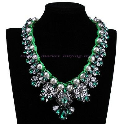 Fashion Rope Chain Green Resin Beads White Pearl Crystal Bib Statement Necklace