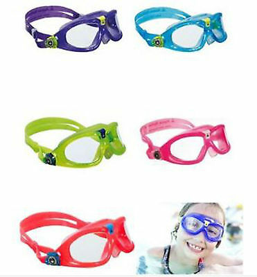 AQUA SPHERE CHILDS KIDS SEAL 2 SWIMMING GOGGLES MASK Blue Lime Clear Pink Purple
