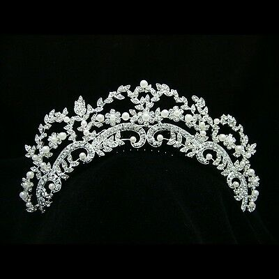 Bridal Floral Rhinestone Crystal Pearl Prom Wedding Tiara Hair Comb 7220