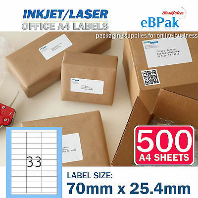 500 x 33 up 70 x 25.4mm Peel Paste Label A4 Office Mailing Address label 33UP