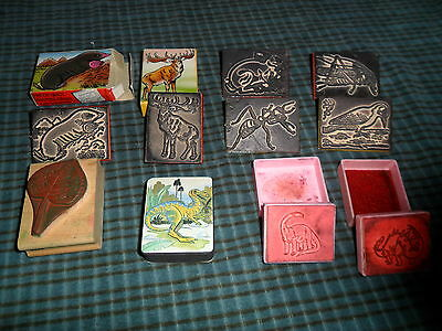 Vintage GERMAN RUBBER STAMP LOT Of 10 Mixed Ink Scrapbooking Stamps