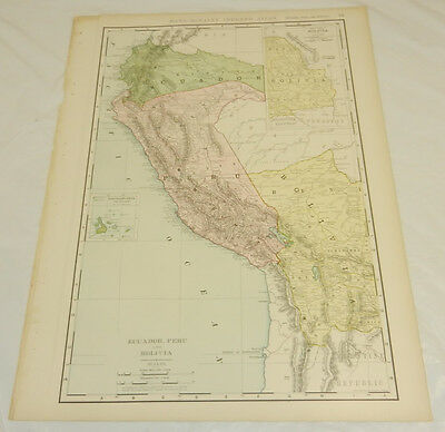 "1908 Rand McNally MAP of ECUADOR, PERU, BOLIVIA/Large 14x20.5"" Format/with Index"