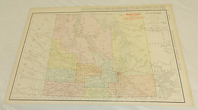 "1908 Rand McNally Map of MANITOBA/Large 14x20.5"" Format/Includes Index/SCARCE"