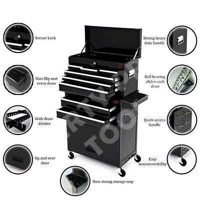 8 Drawer Tool Chest & Roller Cabinet Roll Cab Tool box & Ball Bearing Slides