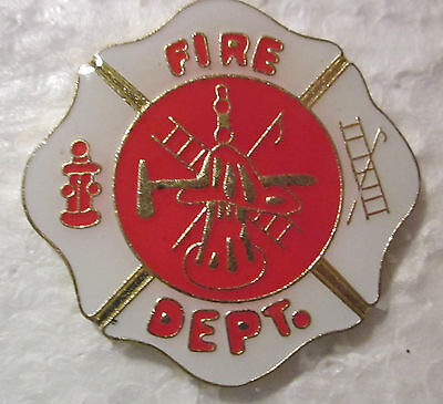 """Fire Department""""RED/WHITE  """"Gold tone""""  Hat Pin /Lapel Pin"""