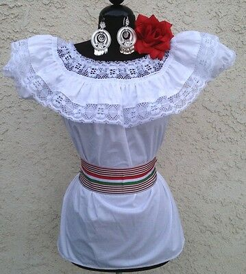 Mexican Blouse White Adelita On/Off Shoulder w/small Sash Blusa Adelita Mexicana