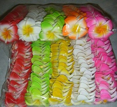 Pack of 100 foam latex frangipani flowers approx 4 - 4.5cm - various colours