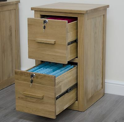 Arden solid oak home office furniture lockable two drawer filing cabinet