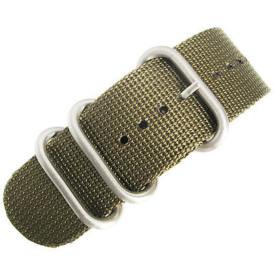 22mm deBeer Ballistic Nylon Green UTC Military One-Piece Dive Watch Band Strap