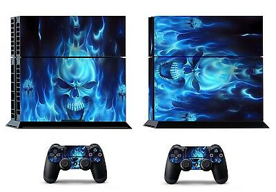 Blue Fire 256 Vinly Skin Sticker Sony PS4 PlayStation 4 and 2 controller skins