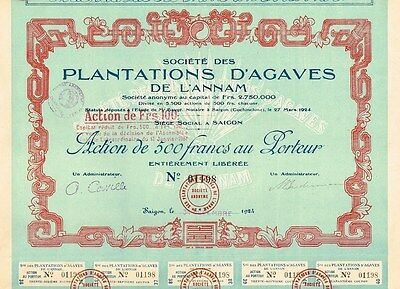 INDOCHINA AGAVE PLANTATIONS OF ANNAM stock certificate 1924