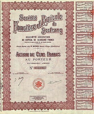 INDOCHINA RICE COMPANY OF SOCTRANG stock certificate
