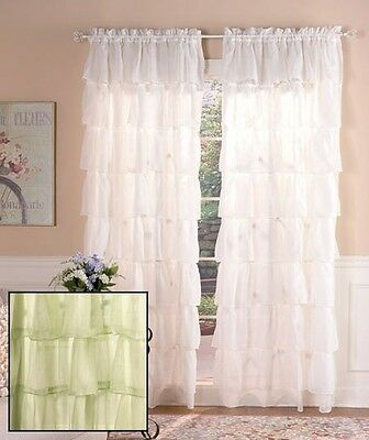 "Gypsy Ruffled Curtain 60""W x 63""L  Sage Richly textured layers 1 Panel Window"