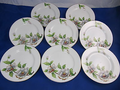 """Set of 8 ROSELYN China DOGWOOD Bread & Butter Plates 6 1/2"""" Japan"""