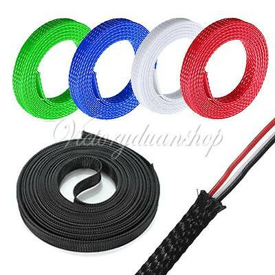 5M 4-30mm Expandable Braided Sleeving Cable Wire Harnessing Sheathing Sleeve New