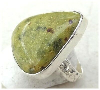 GENUINE 925 Sterling Silver STICHTITE SEMI PRECIOUS Gemstone RING SIZE L ~ 5 3/4