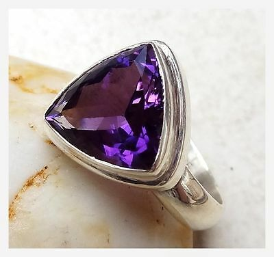 925 Sterling Silver PURPLE AMETHYST Semi Precious Gemstone Ring Size N - 6 3/4