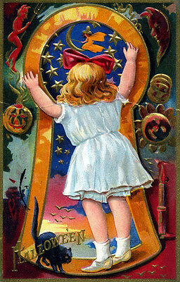 Vintage Halloween Keyhole Girl Moon Witch Black Postcard Poster Repro 14x18 New