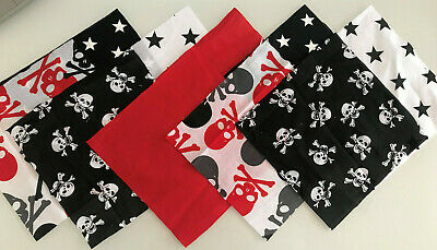 Skulls Black Red Patchwork Craft Fabric Material Bundles - Choose Size+Quantity