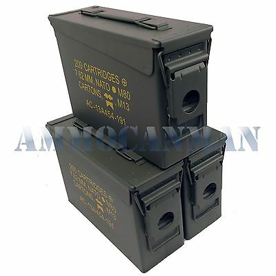 Stenciled 3-Pack New 30 Cal M19A1 Mil Spec Empty Ammo Can