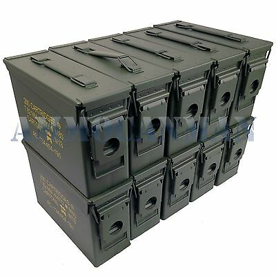 Stenciled 10-Pack New 30 Cal M19A1 Mil Spec Empty Ammo Cans