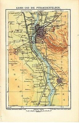 1899 EGYPT CAIRO and OUTSKIRTS PYRAMIDS Antique Map