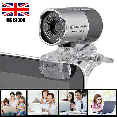 USB 2.0 8M Webcam Web Cam Camera With Mic Microphone for Laptop Desktop PC UK