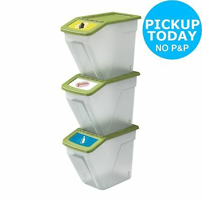 HOME 34 Litre Plastic Recycling Bins - Set of 3 -From the Argos Shop on ebay
