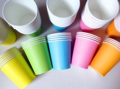 50pcs 7oz Paper Cups 5 Color Tableware Wedding Birthday Party Decorations