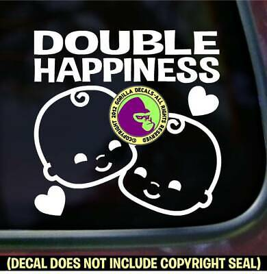 DOUBLE HAPPINESS TWINS Decal Sticker Babies Baby Twin On Board Car Wall Sign