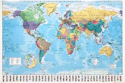 "MAP OF THE WORLD LAMINATED LARGE POSTER 61x91cm / 24""x36"" FLAGS WALL DECOR PRINT"