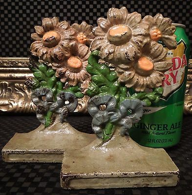 RARE Pair Hubley Antique Cast Iron Daisy Flower Floral Bookends or Sm Doorstops